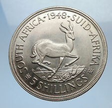 1948 SOUTH AFRICA Large Silver 5 Shillings Coin GEORGE VI SPRINGBOK Deer i69425