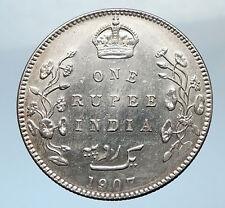 1907 King EDWARD VII of United Kingdom EMPEROR British INDIA Silver Coin i73776