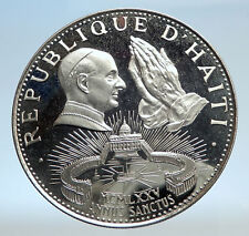 1974 HAITI Holy Pope Hands Praying St. Peter Proof Silver 50G Hatian Coin i74265
