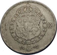 1943 Sweden GUSTAF V Silver Krona Crowned ARMS Antique Vintage Coin i71964