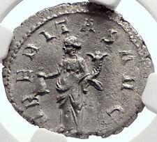 TRAJAN DECIUS Authentic Ancient Silver 250AD Roman Coin UBERITAS NGC AU i69080