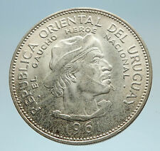 1961 URUGUAY w El Caucho Hero Against Spain Genuine Silver 10 Pesos Coin i75232