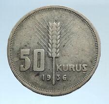 1936 TURKEY President Kemal Ataturk Genuine Silver Islamic 50 Kurus Coin i74336
