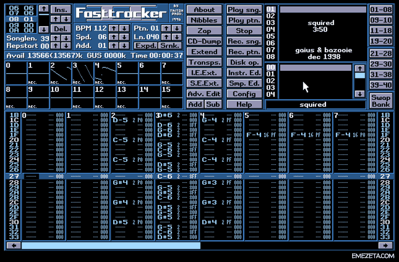 Trackers musicales: XM, Fasttracker II (DOS)