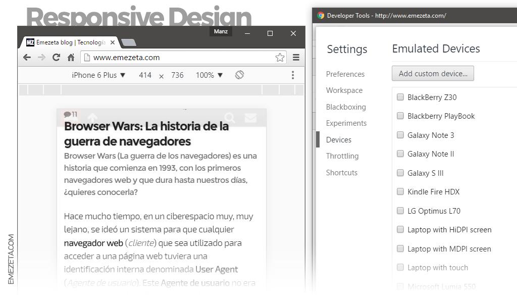 Responsive Web Design en Chrome® Dev Tools