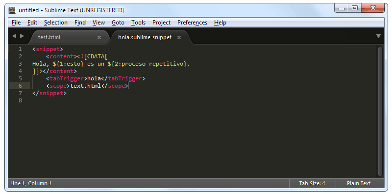 Sublime Text: Crear snippets