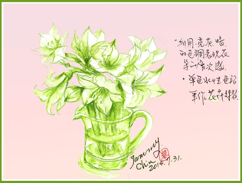 彩繪生活(218)色鉛筆單色花卉素描 | 大紀元