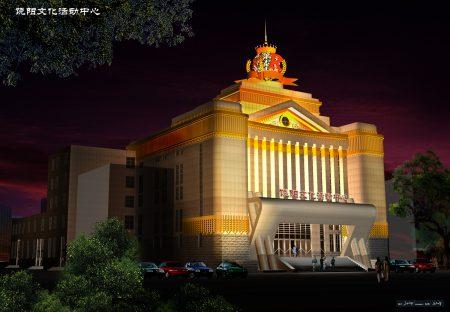 张泽设计作品——饶阳影院夜景。