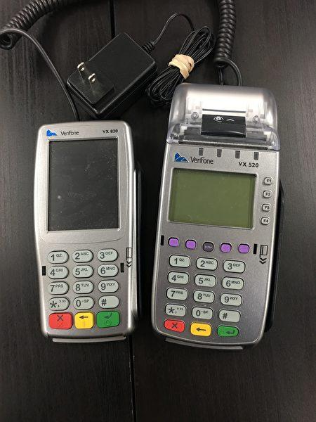 小林泰絵子5,000美元換來的刷卡機。(劉菲/大紀元)