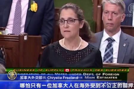 加拿大外交部长方慧兰回答就孙茜案的提问。(新唐人电视台)