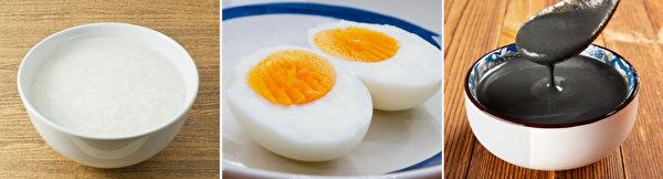 幫助提神、補充體力和腦力的早餐食物:白米粥、雞蛋、黑芝麻糊。(Shutterstock)