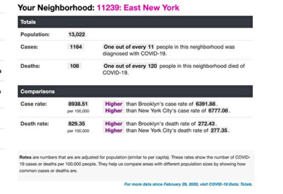 截至2月13日,东纽约地区每10万居民中死亡人数最高。