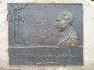 Plaque memorializing Stephen Mather, forefather of the National Park Service