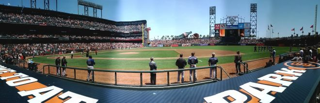 AT&T Park from behind the visitor's dugout