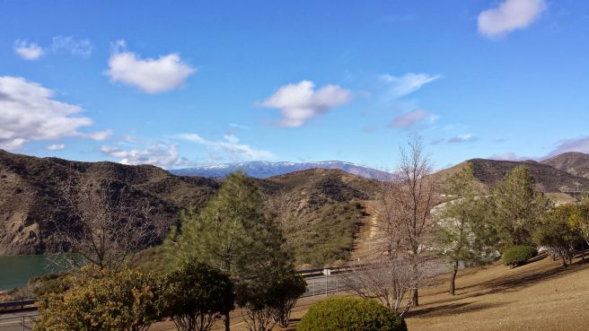 Snow in the Angeles National Forest as seen from Pyramid Lake's Vista del Lago Visitors Center