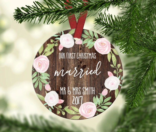 First Christmas Married Marriage Christmas Ornament Newlywed Gift Christmas Gift Gift Idea Custom Christmas Ornament Ornament