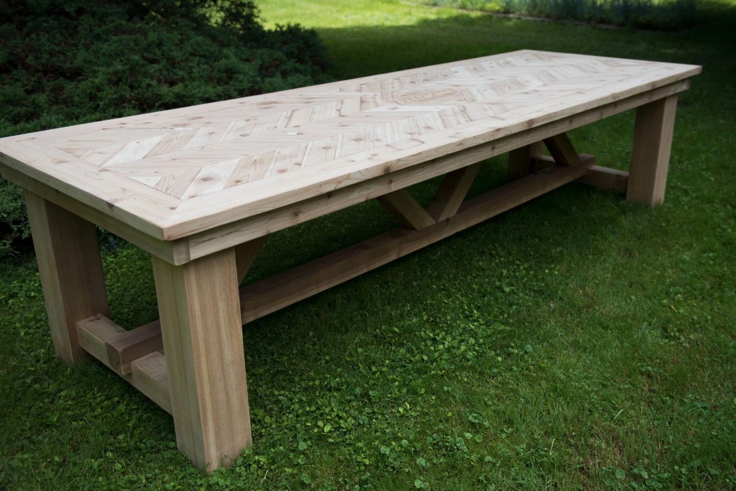 outdoor dining table patio table large outdoor cedar table etsy