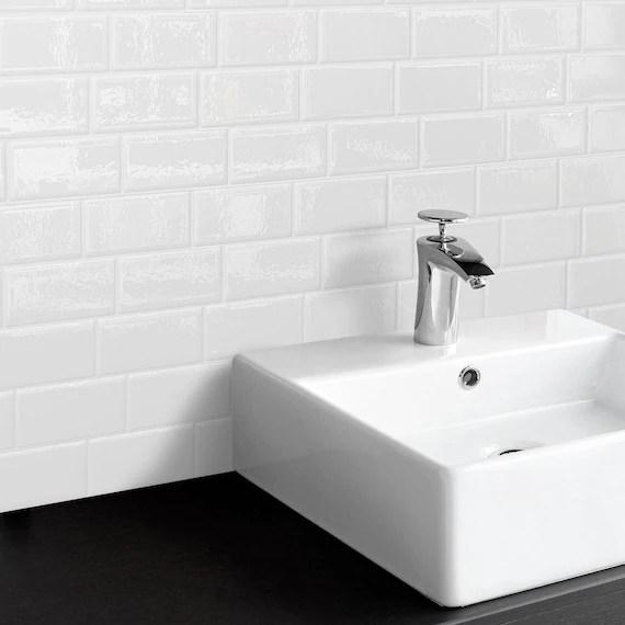 smart tiles metro blanco white subway peel and stick tile etsy
