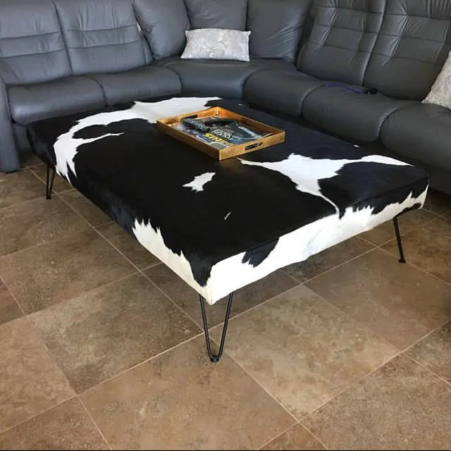 extra large genuine cowhide footstool coffee table ottoman oversized coffee table
