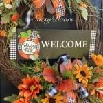 Fall Wreath Pumpkin Wreath Buffalo Plaid Pumpkin Wreath
