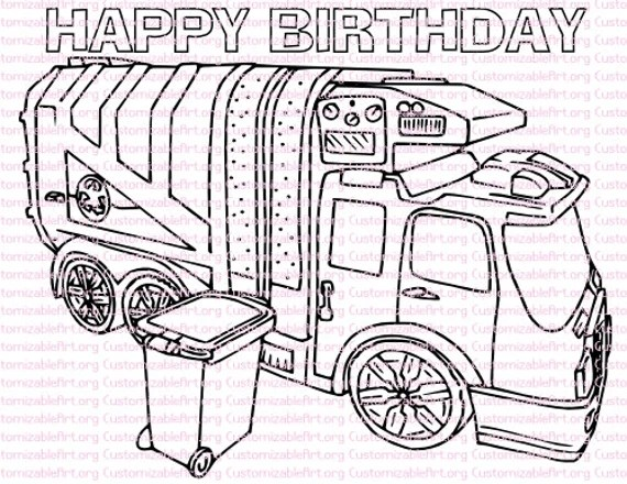Garbage Truck Birthday Party Printables Garbage Truck Coloring Etsy