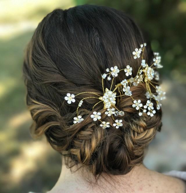 gold rhinestone hair comb, wedding hair accessory, bridal hair comb, wedding hair comb, pearl hair comb, gold hair clip