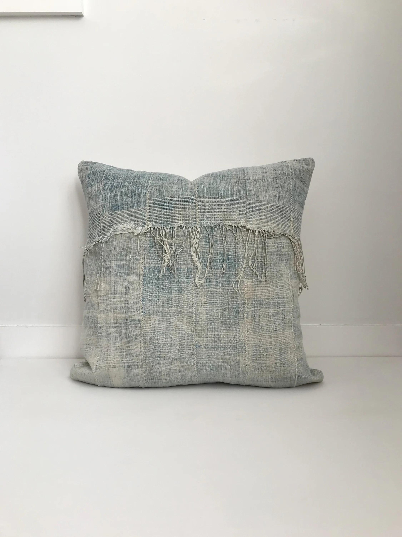 African Indigo Pillow Cover Ethnic Vintage Blue Boho Pillow Fringe
