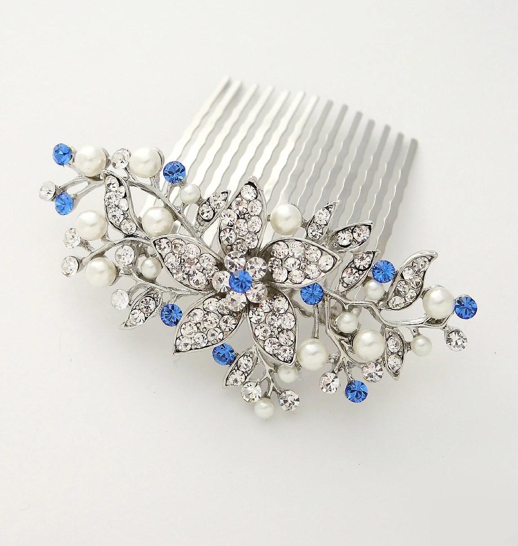 bridal hair comb royal blue hair pin something blue wedding sapphire blue bridal hairpiece royal blue hair clip hair accessories