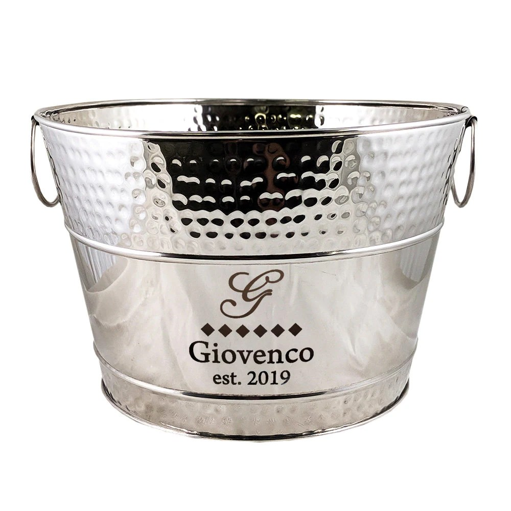 Personalized Beverage Bucket Hammered Stainless Steel Wine image 1