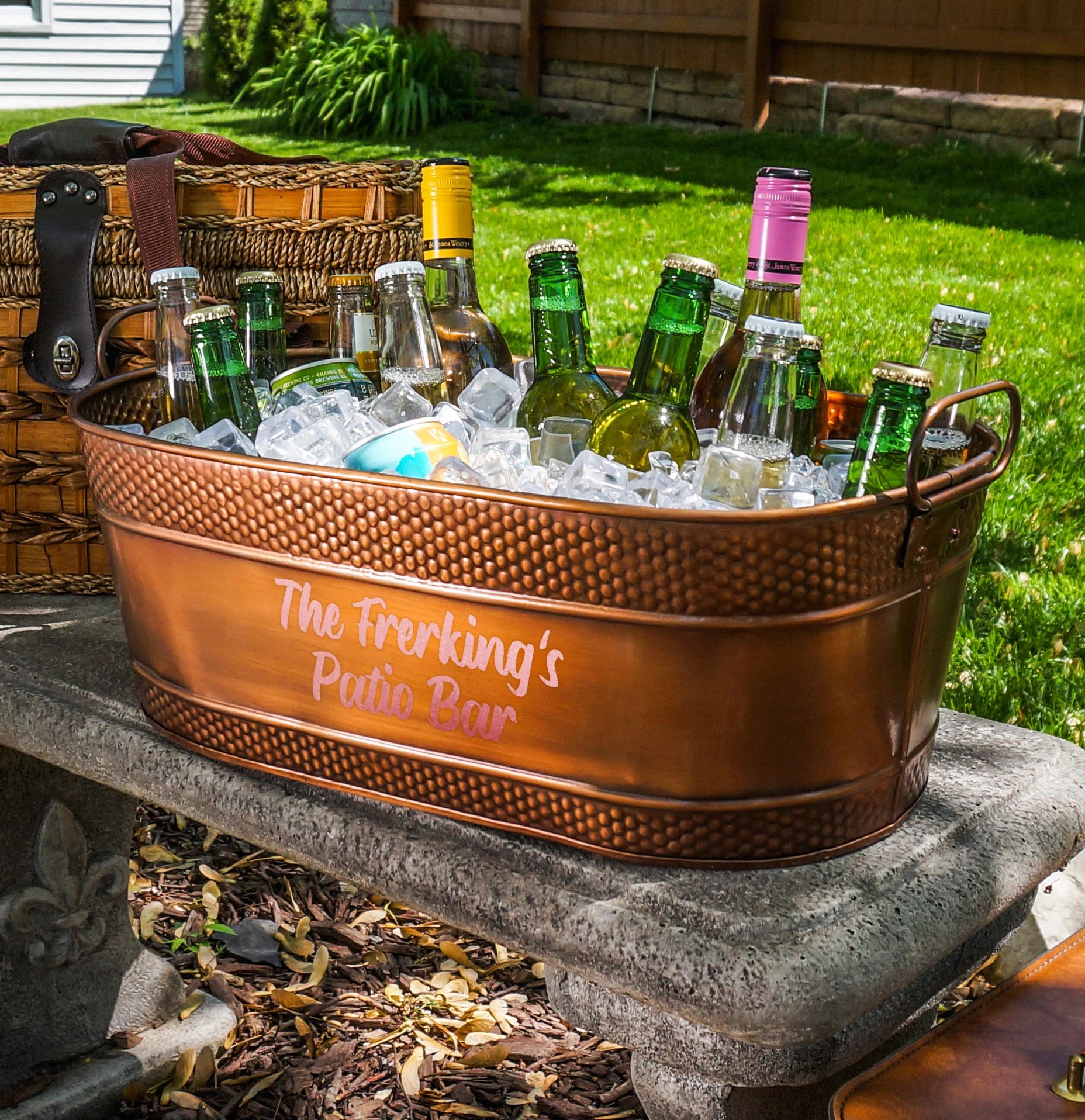 Personalized Copper Beverage Tub & Wine Chiller Ice Bucket image 3