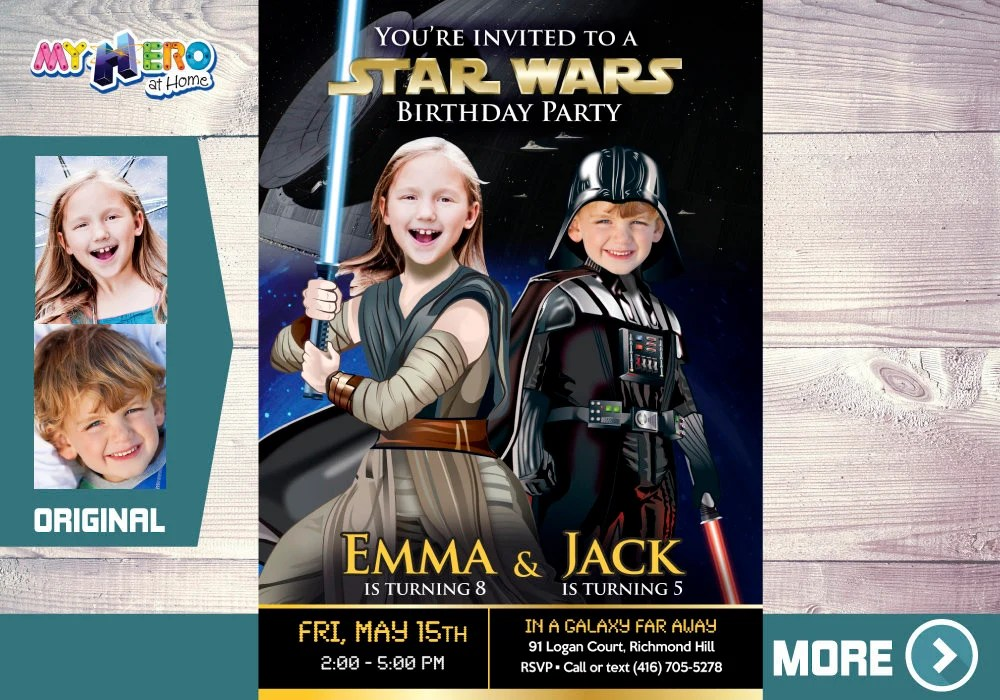 joint star wars birthday invitation