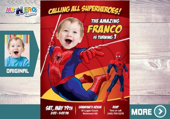 spider man 1st birthday invitation