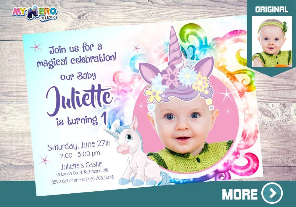 baby unicorn 1st birthday invitation