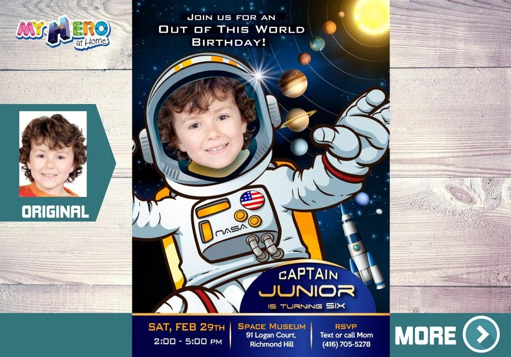 astronaut birthday invitation out of