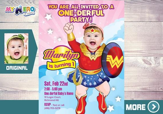 wonder woman 1st birthday invitation