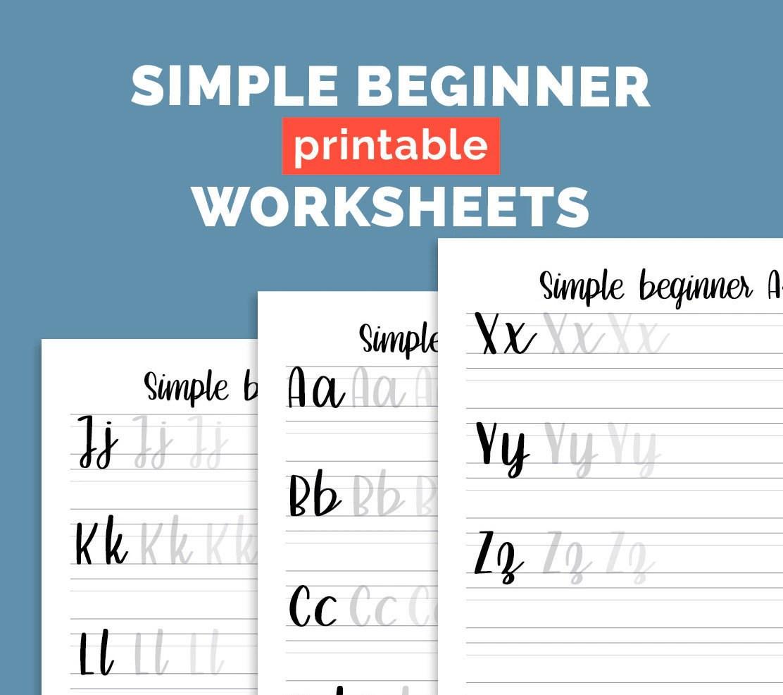 Simple Beginner Alphabet Brush Lettering Practice Sheets