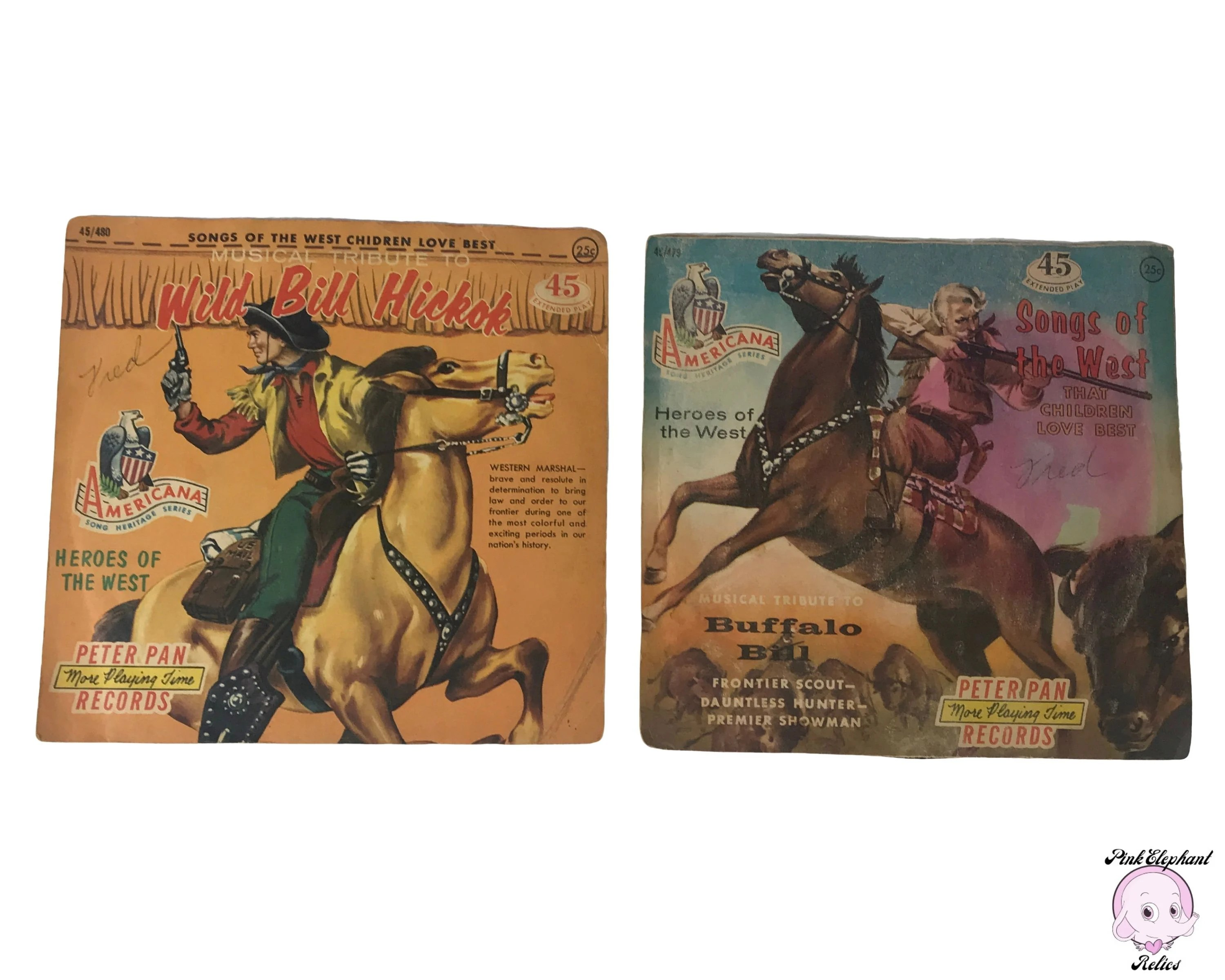 2 Vintage Wild West Kids 7 Records 45 Rpm Americana Song