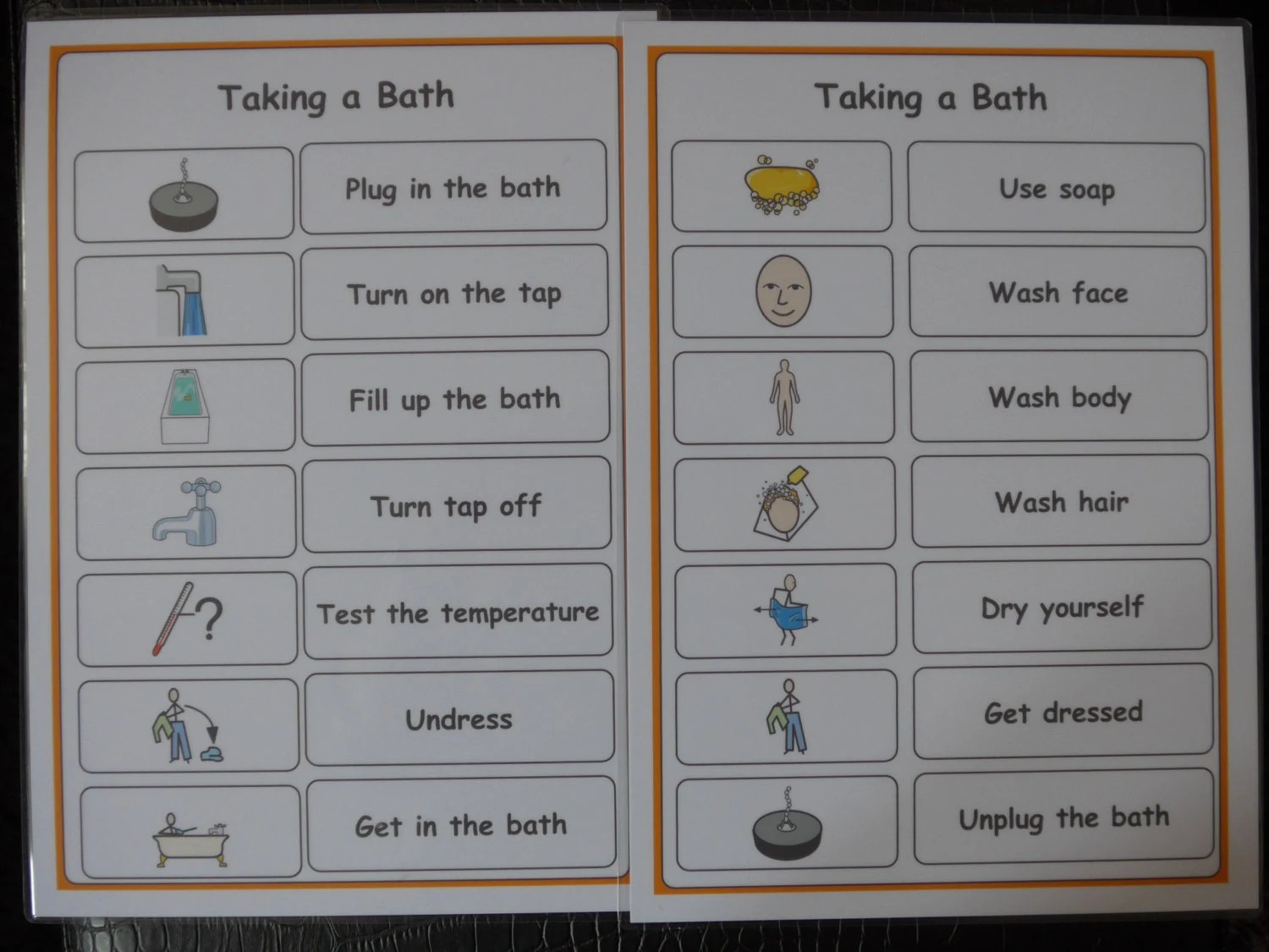 Taking A Bath Hygiene Checklist Support Aid For