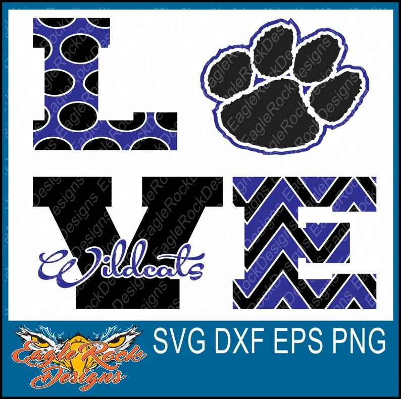 Download Love Wildcats SVG DXF EPS Png Cut File Wildcats Paw | Etsy