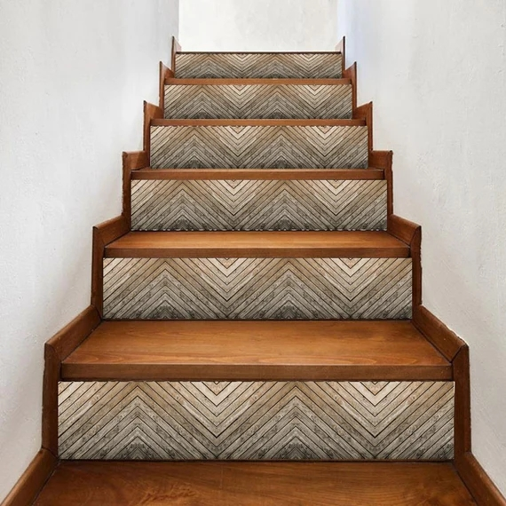 Light Brown Wood Stair Riser Window Sill Tile Stickers 7 Etsy | Wood Stairs With Tile Risers | Color Scheme | Creative | Stair Outdoors | Grey | Tile Residential