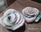 White Eco Wool Felted Ros...