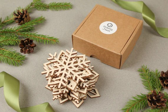 Set of 12 Wooden Snowflakes