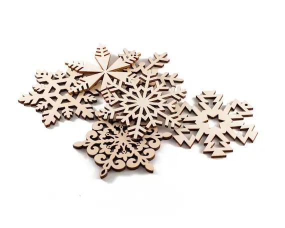 Set of 6 Wooden Snowflakes