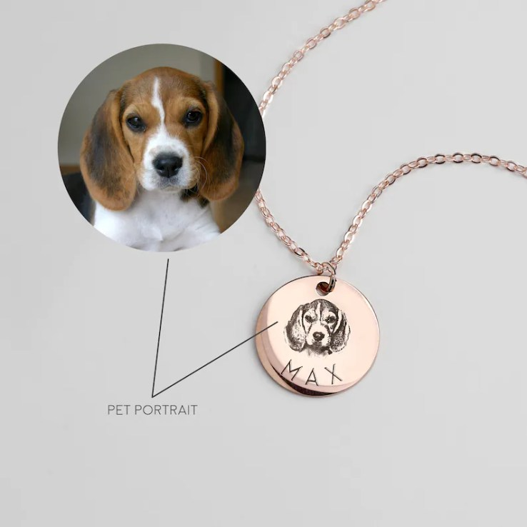 Personalized Gift for Her Personalized Necklace Pet Dog ROSEGOLD