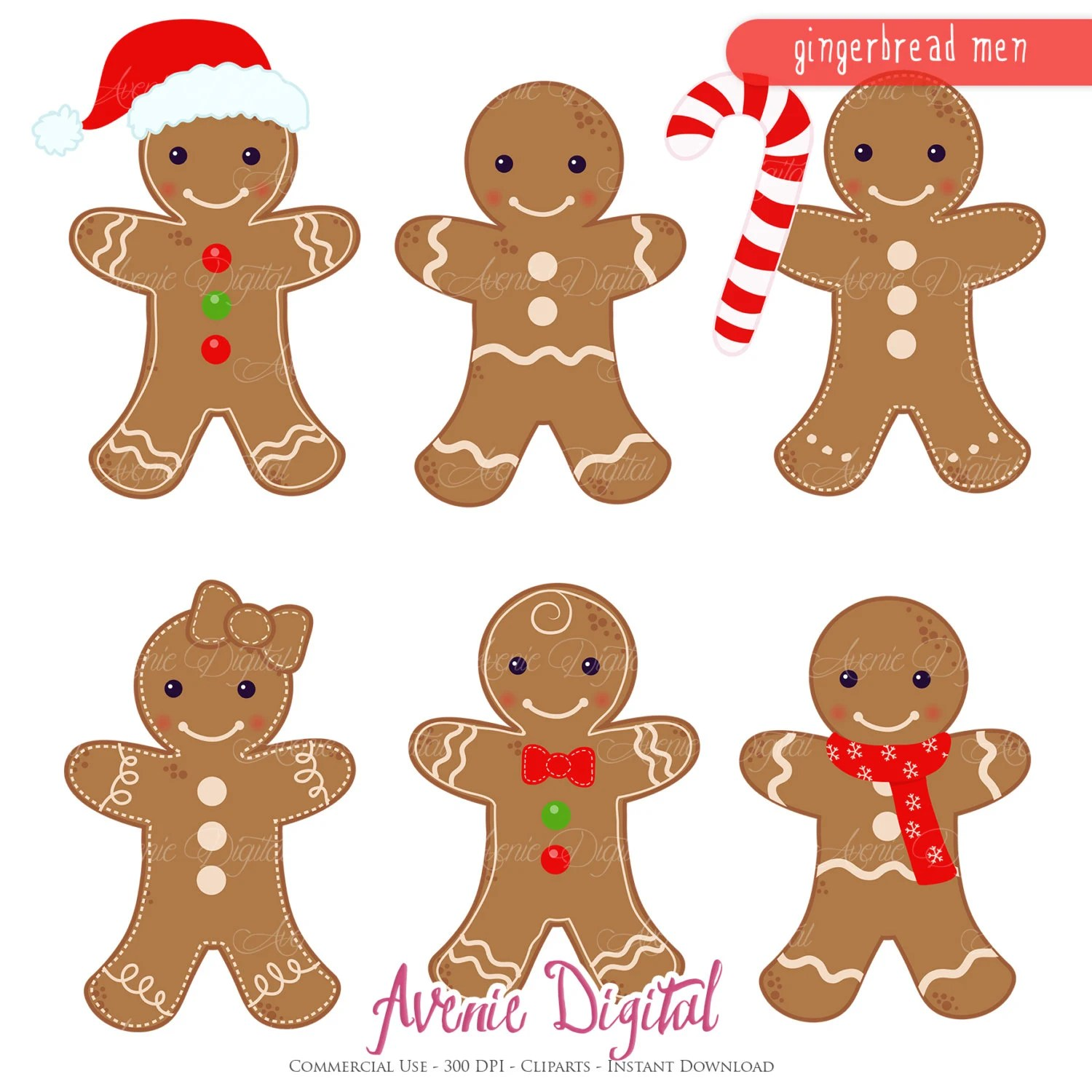 Gingerbread Man Clipart Scrapbook Printables Holiday Clip