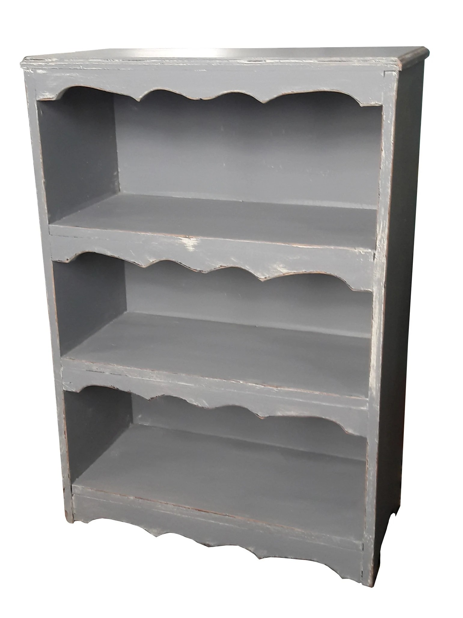 Vintage Shabby Cottage Gray Distressed Bookshelf Rustic Farmhouse Painted Bookcase