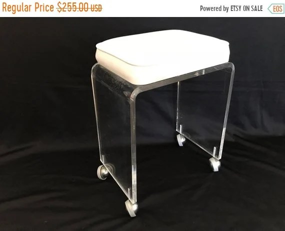 on sale vintage mid century modern waterfall narrow small scale lucite acrylic white padded vanity stool