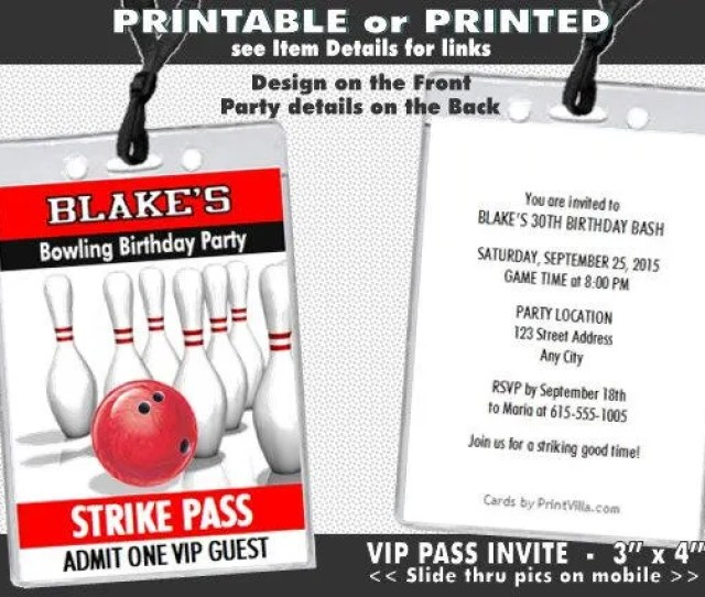Bowling Vip Pass Lanyard Invitation Printable Birthday Party Invites For Bowling Party Adult Or Kids