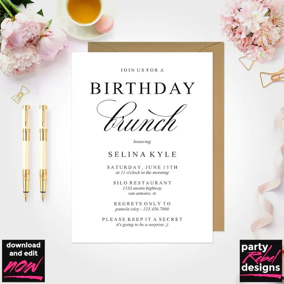 birthday brunch invitation instant download birthday party invitation template editable birthday party invitation diy birthday bd12