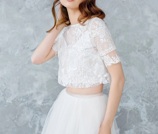 Lace Wedding Top Bridal Separates Sheer Lace Top Bridal Cover Up Bohemian Lace Topper Guipure Lace Jacket Dotted Lace Top Guste